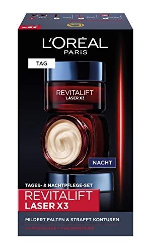 L'Oréal Paris Revitalift Laser x3 Hyaluronsäure Anti-Aging Geschenkset, Tag und Nacht Gesichtscreme mit Pro-Xylane und Hyaluron, Anti-Age Pflege mit 3-fach Wirkung, 2x 50ml