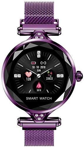 Reloj inteligente para mujer con monitor de ritmo cardíaco, podómetro, contador de calorías, recordatorio con seguimiento de actividad de sueño de salud para teléfono inteligente