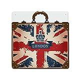 DECISAIYA Cartel de chapa Retro,Maleta de viaje vintage con imagen de la cinta y la de la bandera británica de Londres Placas Cartel Colgante Decoración mural,metálico,Diseño Vintage,30x30cm