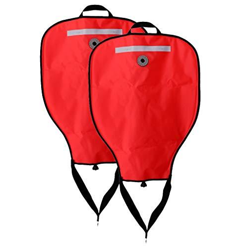 perfeclan Lote 2 Accesorios Subacuáticos para Buceo Técnico Rojo de Visibilidad 50 Libras Bolsa de Elevación Y Válvula de Descarga