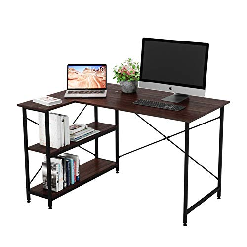 Bestier Computer Desk with Storage Shelves Under Desk, Small L-Shaped Corner Desk with Shelves 47 Inch Writing Desk Table with Storage Tower Shelf Home Office Desk for Small Spaces P2 Wood (Brown)