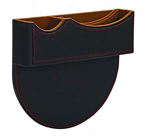 シートサイドポケット 収納ポケット 車用 コンソールボックス スキマポケット 小物入れ 汎用 スマホ入れ Gany (ブラック(レッドステッチ))