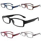 Yuluki 5 Pack Reading Glasses Blue Light Blocking Lightweight Readers for Women Men Anti Glare UV Ray Comfort Spring Hinge Computer Eyeglasses 2.5