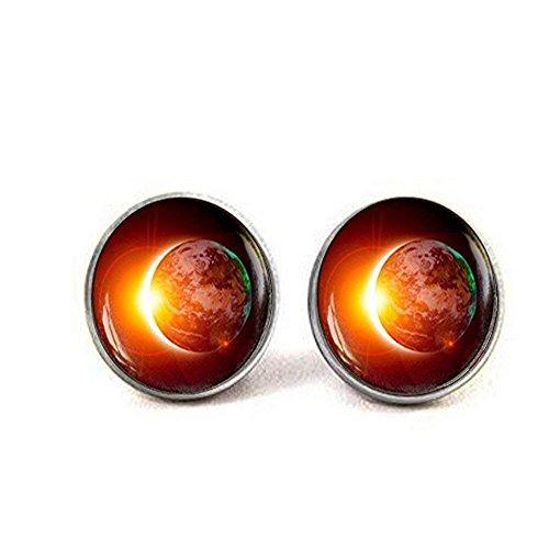 Pendientes espaciales, pendientes Galaxy, pendientes de Eclipse, tierra solar, Eclipse