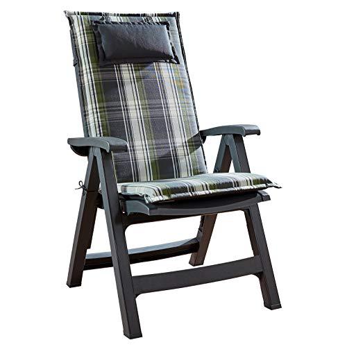 Homeoutfit24 Sun Garden 1-Stück Gartenstuhl-Auflage Donau in Weiß/Grün, gepolstertes Sitzkissen mit Kopfpolster für Hochlehner-Gartenmöbel, abnehmbar und waschbar, 120 x 50 x 6 cm