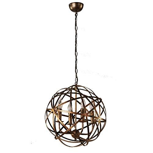 FDA3H hanglamp industrieel vintage design rond lege metalen bol hanglamp antiek eettafel loft hanglamp Ø 42 cm 4×E14 vlammen Max 40W verstelbaar