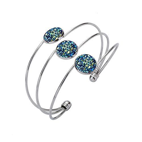 wangzz Mode Vintage DREI Schichten Armbänder Für Frauen Silber Druzy Charme Armbänder Armreifen Druse Schmuck Armreifen Für Frauen Geschenk