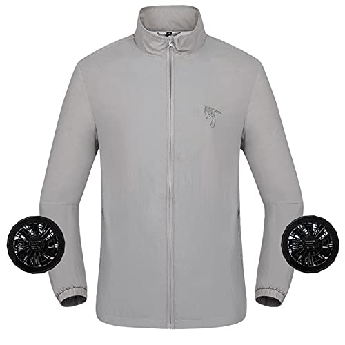 Giacca Abbigliamento Aria Condizionata Ventola Rimovibile Poliestere Manica Lunga per Esterno,Gray,L