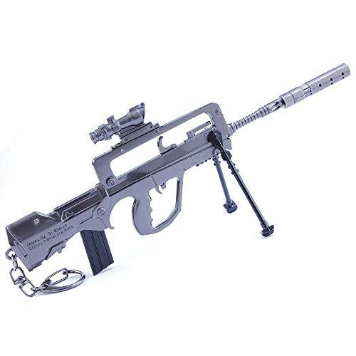 QISUO FAMAS Rifle Gun Colgante Llavero Metal Arma Modelo de Juguete Periféricos de Juego Gran Regalo para Niños Mini Suministros de Fiesta Decoración de Escritorio Pistola