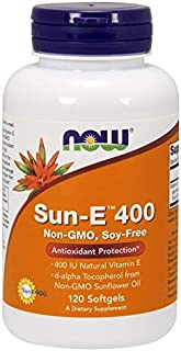 NOW Supplements, Sun-E 400 IU with d-alpha Tocopherol from Non-GMO Sunflower Oil, 120 Softgels