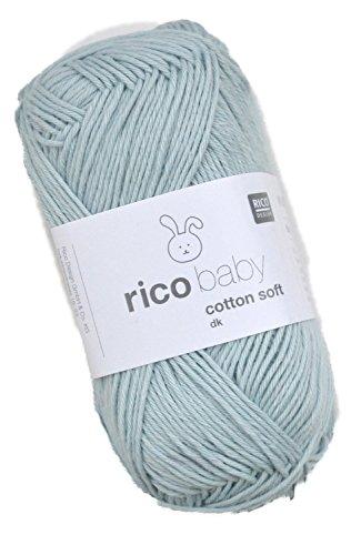 Rico Baby Cotton Soft dk Fb. 051 Rauchblau, weiche Babywolle blau, Baumwollmischgarn zum Stricken & Häkeln