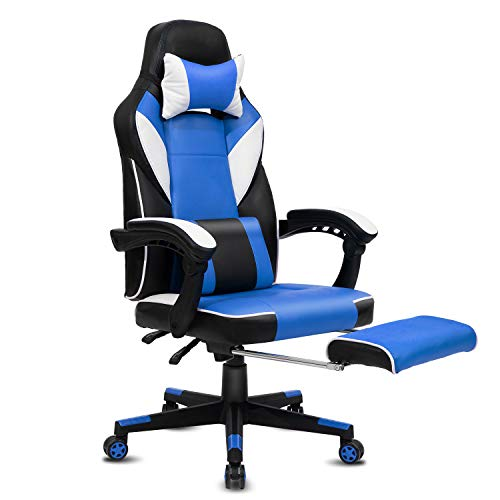 Modern-Depo High-Back Swivel Office Chair Recliner with Footrest, Headrest and Lumbar Support | Height Adjustable Ergonomic Gaming Chair - Black & Blue blue chair gaming