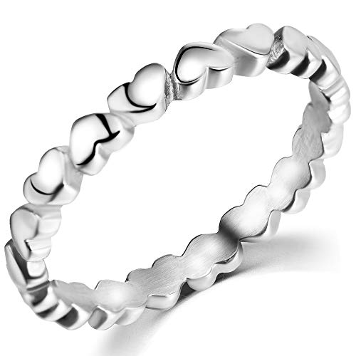 Stainless Steel Heart Shaped Classical Simple Plain Stacking Wedding Band Promise Ring (Silver, 9.5)