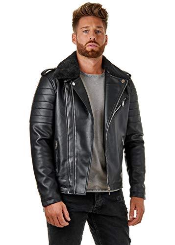 EightyFive Herren Kunst-Lederjacke Biker-Jacke Fellkragen Zipper Schwarz EF502, Größe:XL, Farbe:Schwarz