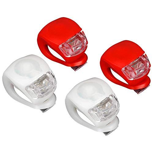 HEITECH LED Klemmlichter 4er Set - Klemmlicht regenfest mit heller LED & 3 Leuchtfunktionen inkl. Batterien - Flexible Silikon Klemmleuchte für mehr Sicherheit