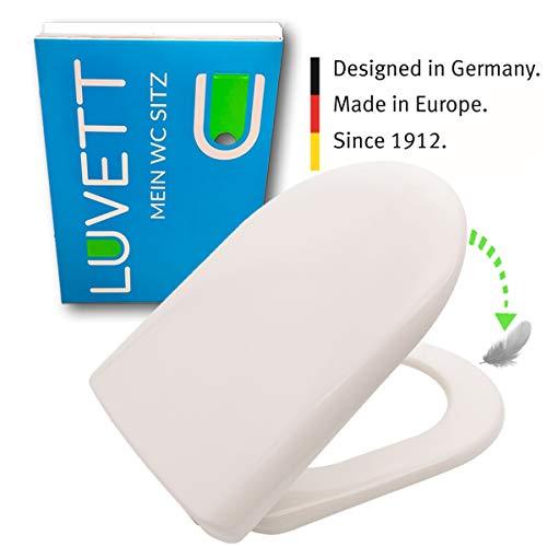 LUVETT WC-Sitz D100 D-Form mit Absenkautomatik SoftClose® & TakeOff® EasyClean Abnahme, Duroplast Toilettendeckel, Farbe:Pergamon