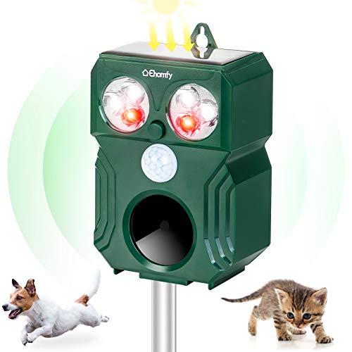 Ehomfy Repelente para Gatos, Ahuyentador de Pájaros Gatos Perros Exterior Jardin Solar Ultrasónico con Sensor PIR, Ahuyentador de Palomas, Ratones, Serpientes, Aves