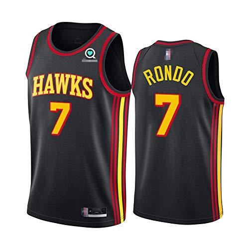 SHR-GCHAO Ocio Men's Basketball NBA Atlanta Hawks # 7 Rajon Rondo Jersey, Malla De Baloncesto Deportes Malla Quick-Secking Transpirable Cuello Redondo Camisa,Negro,XXL(185~190cm)