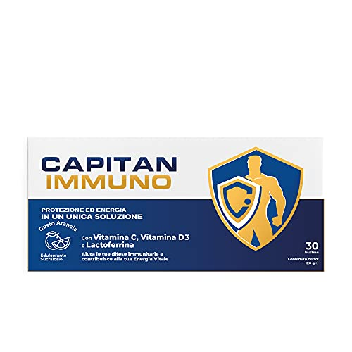 Capitan Immuno - 30 bustine - Vitamina C 1000mg + Vit. D 2000 UI + Lattoferrina Pura (Lactoferrina) - Integratore Difese Immunitarie in Polvere Prodotto in Italia - Gusto Arancia