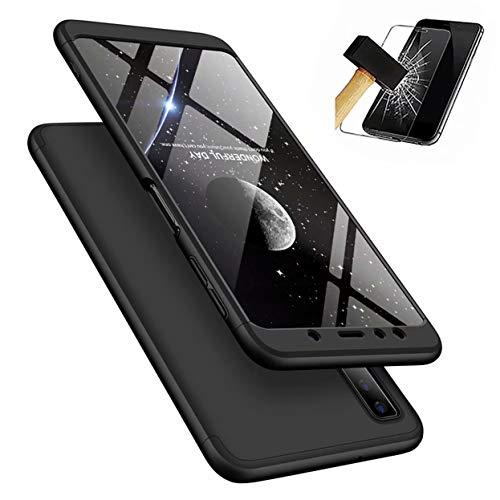 Funda Samsung Galaxy A9 2018 + Vidrio Templado Lanpangzi 360°Caja Caso 3 in 1 Carcasa Todo Incluido Anti-Scratch Case Cover Protectora de teléfono para Samsung Galaxy A9 2018 - Negro