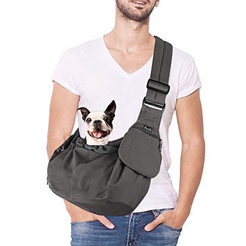 Nasjac Pet Sling Carrier, Hund Papoose Hand Free Puppy Cat Tragetasche mit Boden unterstützt Verstellbarer gepolsterter Schultergurt und Taschenöffnung Reißverschlusstasche Sicherheitsgurt (Grau)