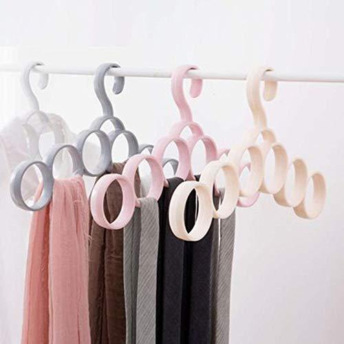 zhaoyangeng 4 delen/los praktische kunststof kledinghangers voor sjaals multifunctioneel onderstel voor sjaal knoopriem met 6 lussen huishouden ruimtebesparend @ Greyish_White