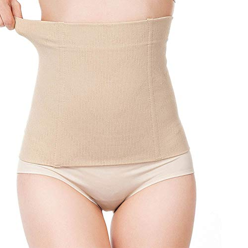 Glus Cotton Spandex Women's Tummy Tucker Belt Shaper Corset - No Rolling Down,Size-Medium,Color-Beige(Medium, Beige)