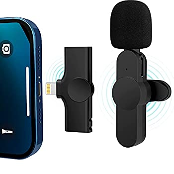 【Plug-Play with 2 Clips】 Lavalier Wireless Microphone for iPhone Youtubers,Facebook Live Stream,Vloggers,Interview,Auto-syncs Clip-on Lapel Mic for PC  NO APP or Bluetooth is Needed