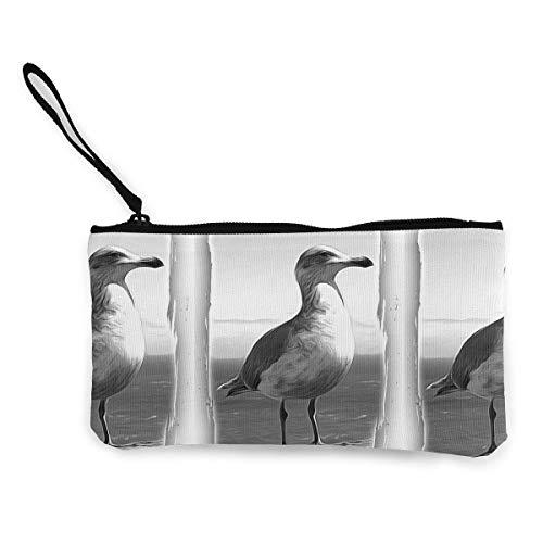 Zip Wallet,Seagull Schwarzweiss-Foto-Leinwand Beeindruckende Geldbörsen-Brieftaschen Für Party-Geschäftsreisen,22(L) x12(W) cm