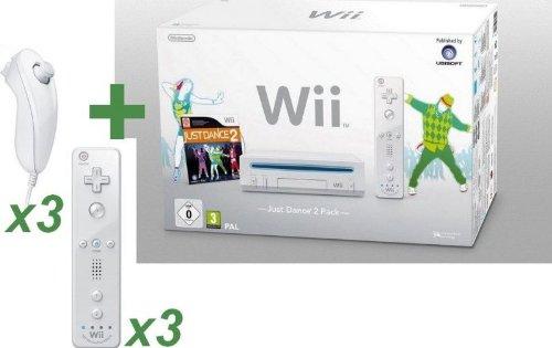 Wii BLANCHE+ JUST DANCE 2+ 3 NUNCHUCKS+ 3 MANETTES