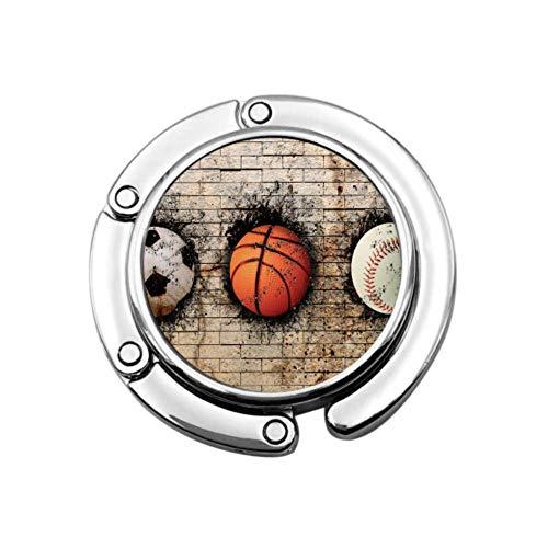 Fußball Basketball Baseball Beige Backsteinmauer Frauen Geldbörse Kleiderbügel Handtasche Kleiderbügel Tisch Einzigartige Designs Faltabschnitt Aufbewahrungstisch Haken Kleiderbügel