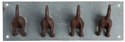Esschert Design Garderobenleiste, Hakenleiste Motiv Hundeschwanz mit 4 Haken, ca. 30 cm x 7 cm x 10 cm