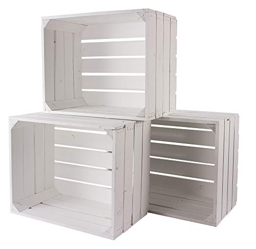 Obstkisten 5er Set weiß | 50 x 40 x 30 cm (LxBxH) | Montiert geliefert | Vintage Weinkiste/Apfelkiste aus massivem Holz als Dekoration & Aufbewahrungsbox