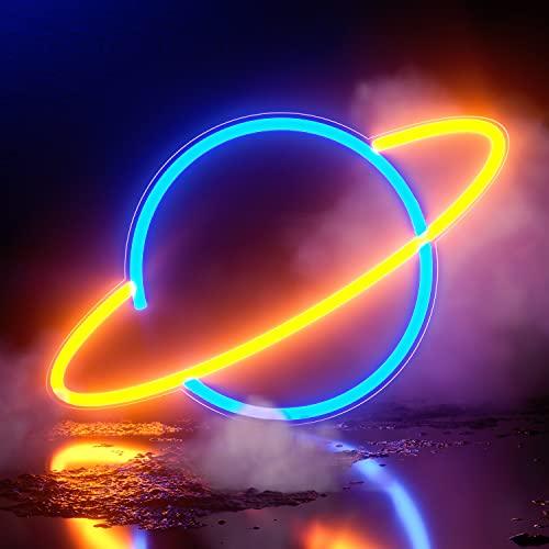 Koicaxy Señal de neón Planet, luz de neón LED, decoración de pared, con batería o USB, para dormitorio, habitación de niños, sala de estar, bar, fiesta, Navidad, boda