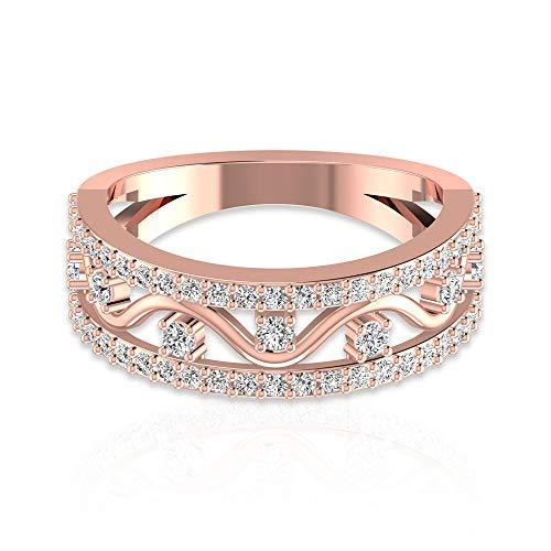 Banda de diamante HI-SI 3/4 ct, anillo de boda para mujer, anillo de diseño de oro, 14K Oro amarillo, Size:EU 60