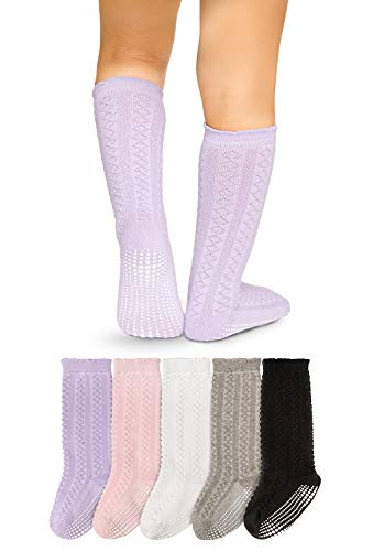 LA Active Calcetines Antideslizantes Niño y Niña- calcetines antideslizantes altos para bebé, calcetines altos hasta la rodilla para niños y bebés hechos de algodón