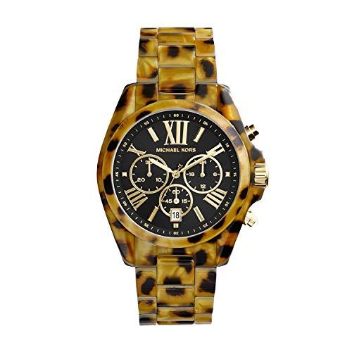 Michael Kors Women's Bradshaw Acetate and Stainless Steel Quartz Watch with Plastic Strap, Multicolor, 22 (Model: MK6887)