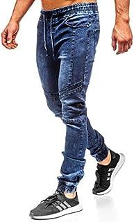 Lanskirt Pantalones Vaquero Hombre Slim Pantalones De Trabajo De Hombres Elasticos Con Estampados Casual Pantalones Rotos De Jogger Overol Chandal Elasticos 28 38 Hombre Pantalones Deportivos