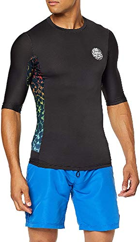 RIP CURL Team Aggro S/SL UV Tee Lycra Homme, Black/Grey, FR : S (Taille Fabricant : S)