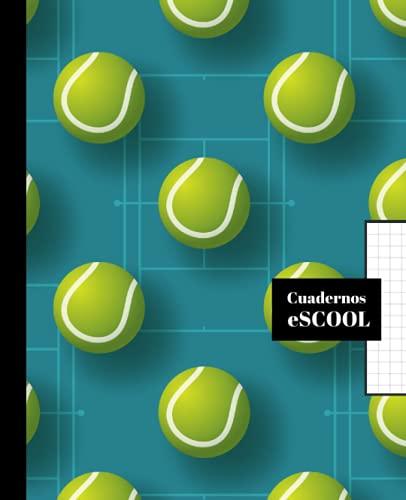 CUADERNO ESCOLAR: Cuaderno de hoja cuadriculada de 4 mm | Cuadrícula 4x4 | Tamaño especial para la mochila | 100 páginas | Papel de alta calidad | Diseño de portada de tenis.