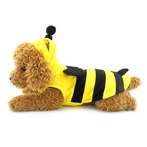 Pegasus pour petit chien chat chiot Pet vêtements pour Bumble Bee Costume Gilet sans manches en polaire pour femme Jaune