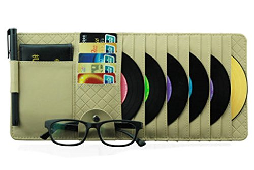 PANDA SUPERSTORE Auto Accessories 10-Pocket CD Visor Organizer DVD/CD Storage Beige