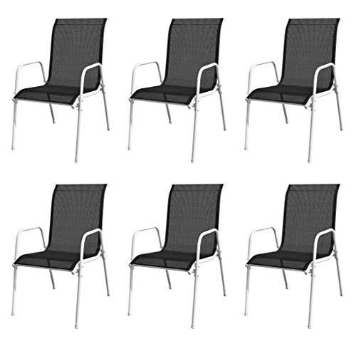 SOULONG sillas de jardín apilables, sillas de Fiesta, sillas de recepción, sillas de salón con reposabrazos, 6 Unidades, Acero y textileno, Color Negro