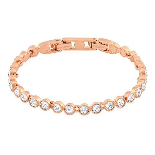 Swarovski Tennis Armband, Rosé Vergoldetes Damenarmband mit Funkelnden Swarovski Kristallen