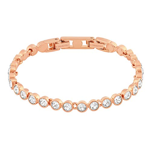 Swarovski Women's Tennis Bracelet, Brilliant White Crystals with Rose-gold tone Plated Metal