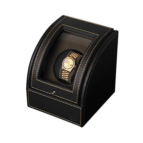 Ronde Enkele Automatische Horloge Winder Box, Flip Cover Horloge Opbergdoos, 1 Snelheid en 2 Mode, Japan Motor, Afstandsbediening met Highlight LED, Zwart