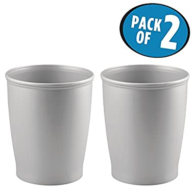 mDesign Round Shatter-Resistant Plastic Small Trash Can Wastebasket, Garbage Container Bin for Bathrooms, Kitchens, Home Offices, Dorm Rooms - Pack of 2, Silver