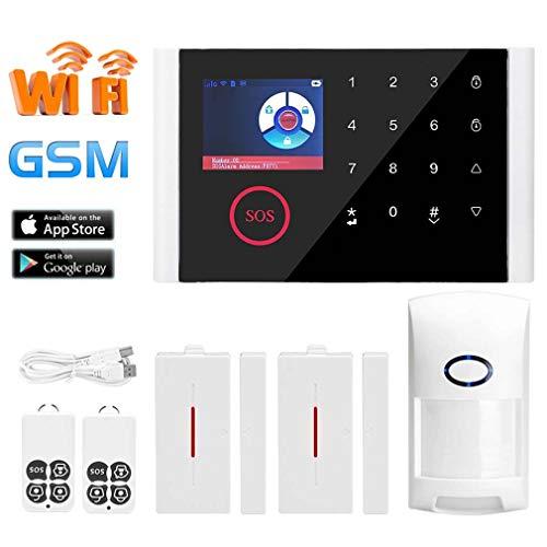 HWUKONG Control Remoto inalámbrico de Alarma Sistema de Seguridad casero gsm GPRS WiFi iOS Android App Kit PIR Sensor de la Puerta del Sensor del Timbre de Seguridad para el hogar Bricolaje