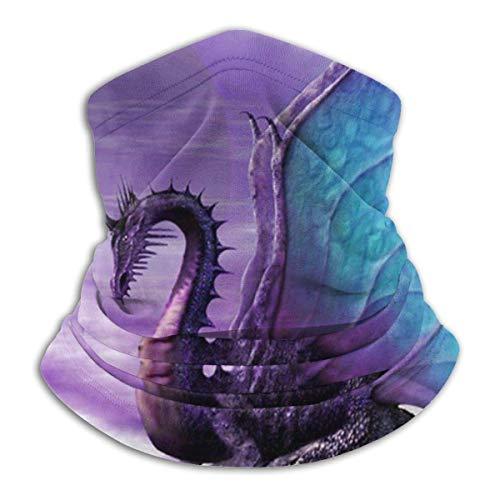 ShiHaiYunBai Tour de Cou Cagoule Microfibre Chapeaux Tube Masque Visage, Purple Dragon Unisex Scarf Double Layer Neck Warmer Scarf Scarves Shawl Cowl