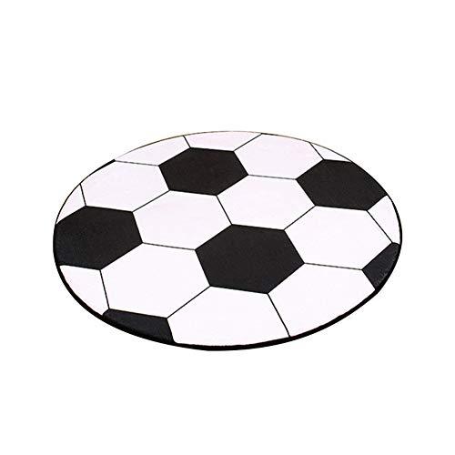 fuchsiaan Alfombra Salón Redonda con Diseño de Balón de Fútbol, Alfombra para Silla de Ordenador, Decoración del Hogar para Dormitorios, Sala de Estar, Habitaciones de Niños